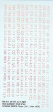 NR-104 - 2nd Guerre Mondiale Afv Numéro (Rouge avec Blanc Contour) - 1/100