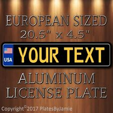 USA EURO STYLE Customized with YOUR TEXT Aluminum License plate Yellow on Black