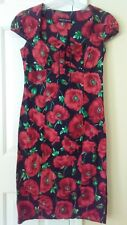 Dorothy Perking Black Red Green Floral Print Empire Waist Dress Size UK 10 US 6