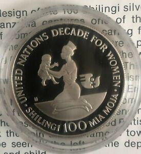 Tanzania - 1984 Decade for Women Silver Proof 100 Shilingi (with Paper)