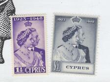 CYPRUS # 158-159  VF-MNH  1948 KING GEORGE VI SILVER WEDDING CAT VALUE $59