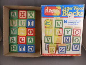 LOT 15 & Box Vtg Playskool Wood Alphabet Letters & Numbers Building Blocks
