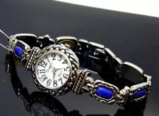 Silver Blue Stone Xanadu Round Small Case Wrist Bracelet Band Watch NEW