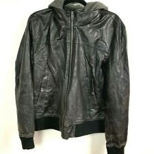 american eagle coat faux leather hooded bomber jacket MENS MEDIUM
