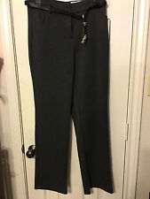 New Dana Buchman gray 6 straight poly rayon spand 4 pocket belted dress pants