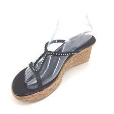 b4fca2c92 Athena Alexander Rhinestone Slip On Cork Wedge Black Size 9  99 Sandal  Leather