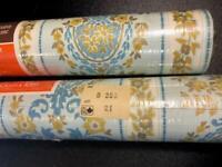 Vtg Victorian Rose Wallpaper Floral Vinyl Norwall 2 Bolts NOS Ornate B 253