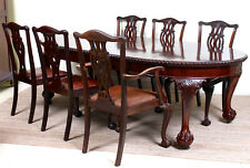 Antique Dining Table And 6 Chairs Chippendale Mahogany Leather Winder Extending