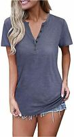 OUGES Womens Long Sleeve V-Neck Button Causal Tops Blouse T, Blue, Size XX-Large
