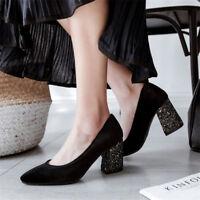 Women's Suede Pumps Sequins Block High Heels Ladies Pointed Toe Plus Size Shoes