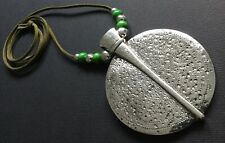 Green Suede Long Necklace With A Huge Statement Silver Hammered Disc Lagenlook