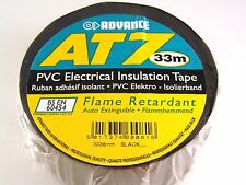 Advance AT7 PVC Electrique Ruban D'isolation Noir 33Mx38mm rouleau de BS EN60454