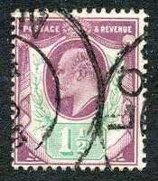 GB 1902 King Edward VII 1 1/2d dark purple violet/bluish green De La Rue chalky