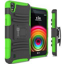 For LG X Power / K6P Belt Clip Case Green Holster Hybrid Phone Cover