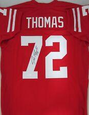 Badgers JOE THOMAS Signed Custom Red Jersey AUTO - Browns - All American -  JSA