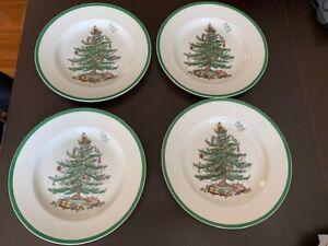 """4 Spode Christmas Tree 10 5/8"""" Diameter Dinner Plates"""