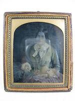 Schöne alte Daguerreotypie / Fotografie 19. Jhdt. Halbetui  9,5 x 8,1 cm   08450