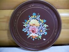 """Vtg. Tole Tray 16"""" Round Floral Decorated on Brown Tray"""