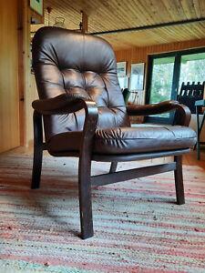 60er Lounge Sessel Danish Modern Easy Chair Leder Mid-Century Clubsessel 60s