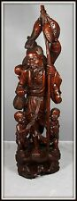 """Huge  """"Chinese Carved Wood Sculpture of a Fisherman & his Children""""  (29"""" High)"""