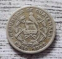 Guatemala 5 Centavos Coin~1932 Short Tailed Quetzal~.720 Silver~KM#238.2~VF~#978