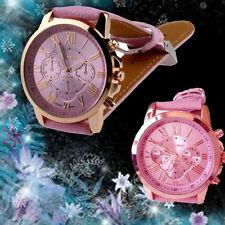 New Women's Date Fashion Geneva Roman Stainless Steel Leather Quartz Wrist Watch
