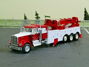 "Dcp Custom red/white KW W900A 36""sleeper tri axle rotator wrecker 1/64"