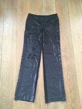 New Womens Zara Black Sequin Trousers Straight Leg Size M Delabelled
