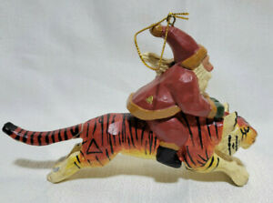 1995 House of Hatten Susan M. Smith Santa Claus Riding Tiger Christmas Ornament