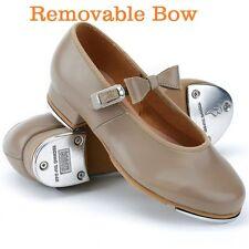 "Bloch S0352L Tan Adult Size 4M ""Merry Jane"" Tap Shoe Shoes w/ Removable Bow"