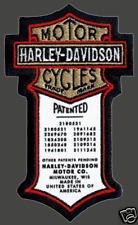 HARLEY DAVIDSON PATENT ORIGINAL  PATCH  5 INCH HARLEY PATCH