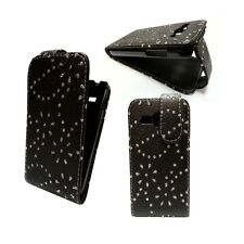 CASE FOR SAMSUNG GALAXY ACE 3 BLACK GLITTER FLIP PU LEATHER POUCH PHONE COVER