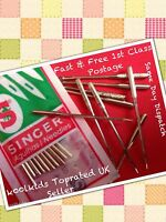 SINGER SEWING MACHINE NEEDLES x10, FOR NEW, VINTAGE & DOMESTIC SIZE: 2020 110/18