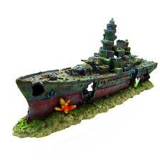 49cm Warship Cave Aquarium Ornament - Battleship ship decoration NAVY fish tank