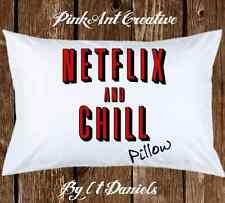 Netflix and Chill Pillow - Funny Pillowcases - Gift for Birthday & Date Night