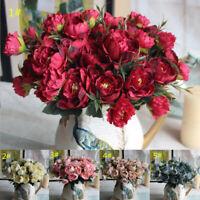 Artificial Flower Rose Peony Fake Silk Flowers Bouquet Wedding Home Decor DIY