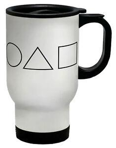Circle Triangle Sqaure Games- Black Travel Mug Cup