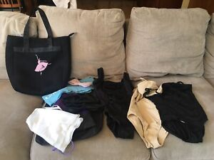 GIRLS DANCEWEAR Size Small LEOTARDS SHOES 4.5 BALLET DANCE LOT With Carry Bag