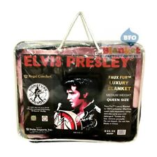 Elvis Presley Portrait 68 Comeback Rock Faux Fur Mink Queen Size Blanket  NEW
