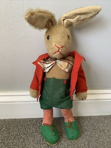 """VTG Rare 16"""" German Schuco Mohair Dressed Bunny Rabbit Bello Yes No Tricky 1950!"""