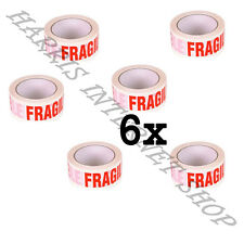 6 ROLLS OF FRAGILE PRINTED LOW NOISE 48mm x 66M PACKING TAPE STRONG ADHESIVE