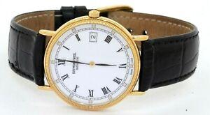 Raymond Weil 18K gold tone quartz men's watch w/ box & papers