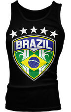 Brazil Flag Shield Soccer Football Team Country Stars Rio BRA BR Girls Tank Top