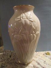 Lenox Masterpiece Iris Ivory Porcelain Large 15 Inch Tall Vase 24k Gold ~Mint~