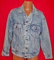 Vintage 80s LEVIS 70507 Blue Acid Stone Washed Denim Jean Mens JACKET Medium Vtg