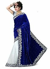 Indian Ethnic Velvet Blue Embroidered Saree Sari D.No SAR2625