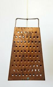 Mid Century Modern Style Large Copper Cheese Grater Light Fixture Chandelier 70s