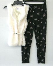 Beautees 👧 Big Girls NWT $48 White 2-Piece Set Vest Leggings Size L KD612