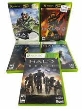 Lot of 5: Microsoft Xbox/Xbox 360 Halo Games Halo 1, 2, 3, 4 & Halo Reach TESTED