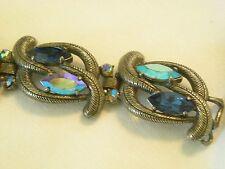 """"""" Schiaparelli """" Designer Signed Blue Rhinestone Bracelet Aurora Borealis  aiB"""